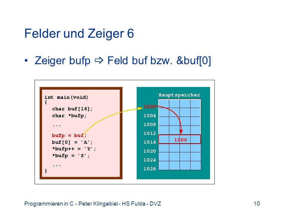 Felder und Zeiger 6 Zeiger bufp  Feld buf bzw. &buf[0]